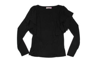 Black Lace Long Sleeved T-Shirt pictures & photos