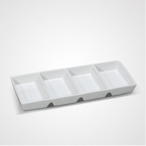OEM Porcelain Kitchen Rect Compartments White Tray