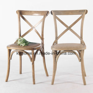 Vintage French Style Restaurant Stackable Cross Back Wood Chair pictures & photos