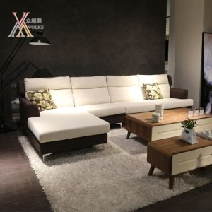 White and Brown Fabric Sectional Sofa (998#)