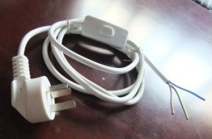 Power Cord with 2*0.75mm Textile Cable and Switch Plug pictures & photos