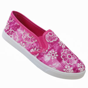 Women′s Cerise Injection Shoes with Embroidered Flower Cotton Upper