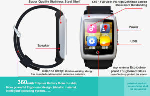 2015 Chinese Fashion Smart Watch Mobile Phone with Bluetooth&GPS