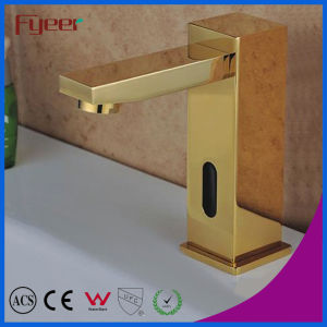 Fyeer Luxury Golden Cold Water Auto Sensor Faucet (QH0116G) pictures & photos