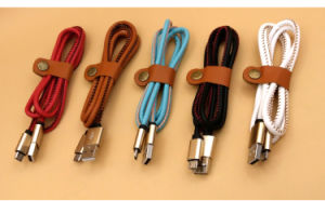 5 Pin PU Leather Micro USB Charging and Data Cable for Android Device pictures & photos