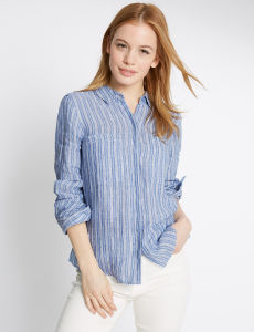 Petite Pure Linen Striped Long Sleeve Shirt pictures & photos