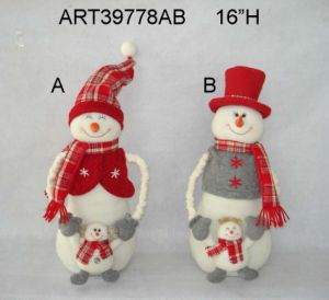 "13""H Santa and Snowman Christmas Decoration with Baby-2asst pictures & photos"