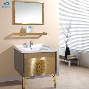 Golden Stainless Steel Hotel Bathroom Cabinet Vanity pictures & photos