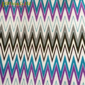 Knitted Velvet Zigzag Printed Upholstery Fabric
