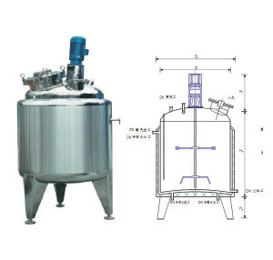 Sanitary Stainless Steel Tri-Layer Mixing Tank with Agitator