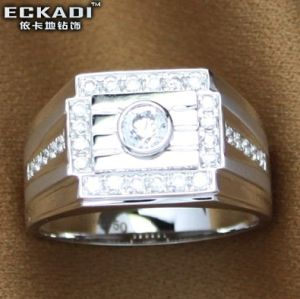 18k Gold Zirconia Male Ring (EKDRW716)