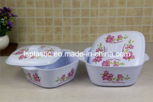 2 PCS Squre Plastic Salad Bowls with Lids (LS-1004-2)