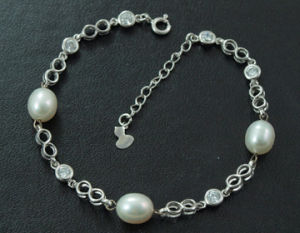925 Silver Jewelry with Freshwater Pear Bracelet (WSTPA00661)