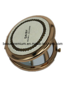Golden Double Make up Mirror Pocket Mirror Metal Round Cosmetic Mirror BPS022