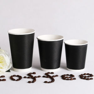 Wholesale Black Paper Coffee Cups/Ripple Wall Disposable Coffee Paper Cups  with Lid