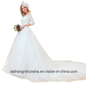 606ef09af China The Bride Married Boat Neck Embroidery Luxury Wedding Dress ...