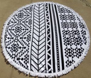 Top Quality Microfiber Printed Round Beach Towels with Tassels
