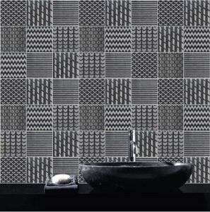 Gl Mosaic Tiles Engrave Background Wall Black Chip Size 100mm