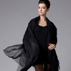 Polyester Chiffon Black Scarf for Women