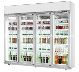 Three Glass Door Drink Display Refrigerator with Ce pictures & photos