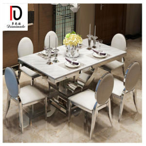 [Hot Item] Modern Dining Living Room Furniture Marble Top Stainless Steel  Dining Table