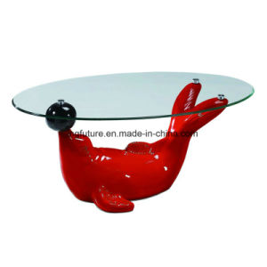 Stylish Glass Table with Cute Dolphin Stand