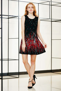 Border Printing Sleeveless Skater Dress with Pleat Detail at Front Neckline