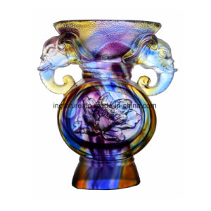 Colorful Propitious Elephant Glazed Glass Vase Orgaments