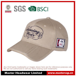 100% Cotton Embroidery Logo Baseball Cap with Folding Brim
