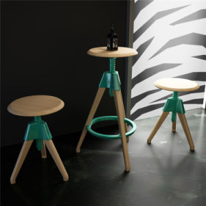 Special Design Round Europe Beech Wood Restaurant High Bar Stool (SP-UBC328) pictures & photos