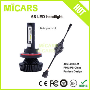 H13 Hi Low Beam Fanless 4500lm Car H13 LED Headlight