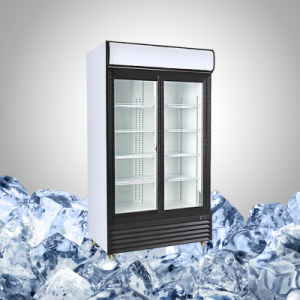Vertical Cooler with Double Sliding Glass Door pictures & photos