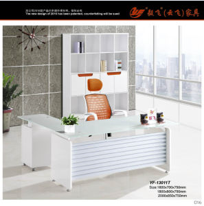 Lecong Customized 1.6m MDF Modern Office Glass Table