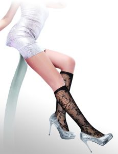 Floral Pattern Fishnet Knee High Socks 8436-L pictures & photos