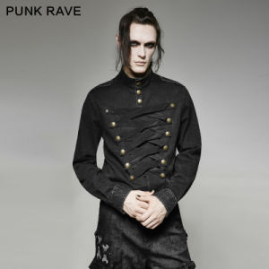 Y-698 Punk Military Multi-Breasted Smooth Majesty Vintage Men Shirt