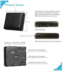 Solar Power Charging GPS Tracker with Sos Button (V26) pictures & photos