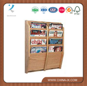 4-Tiered 8 Pockets Wood Magazine Shelf for Wall pictures & photos
