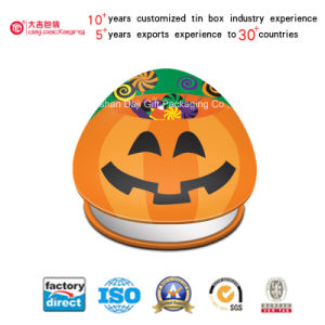 Halloween Cute Pumpkin Metal Tin Box Cookie Gift Box (T001-V27)