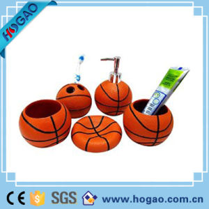 Top-Rated Basketball Bathroom 5PCS Set Creative Resin Bathroom Set pictures & photos