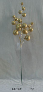 22′′ New Golden Glight Plastic Ball Cuttings Twig for Christmas Decoration