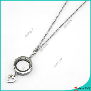 Silver Round Lockets Pendant with Heart Charms Necklace (FL16040833)