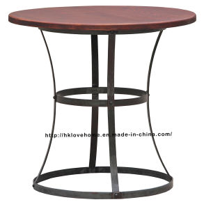 Modern Industrial Round Metal Dining Restaurant Vintage Wooden Table pictures & photos