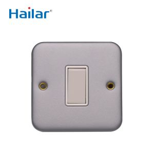 10A 1G 2 Way  Metal Clad Switch grey steel plate for commercial industrial