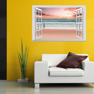 Large Removable Beach Sea 3D Window Decal Wall Sticker Home Decor Exotic View Art Wallpaper