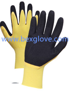 13 Gauge High Elastic Nylon Liner, Nitrile Coating, Double Coated, Sandy Finish Work Glove pictures & photos