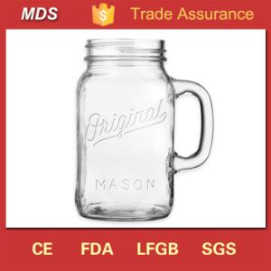 Glassware Original Handled Chalk Embossed Mason Jar Designs pictures & photos