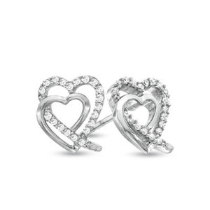 Double Heart Cubic Zirconia Silver Stud Earrings Silver Jewelry Wholesale pictures & photos