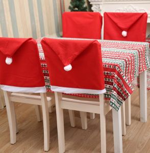 Christmas Chair Back Covers.Santa Clause Red Hat Chair Back Covers For Christmas Kitchen Chair Covers Dinner Table Party Decor