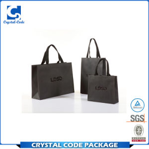Custom Printed Glossy Black Paper Bag With Handles