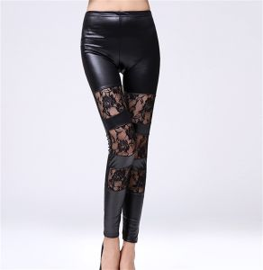 2017 New Arrival Lace Artificial Leather Leggings for Women pictures & photos
